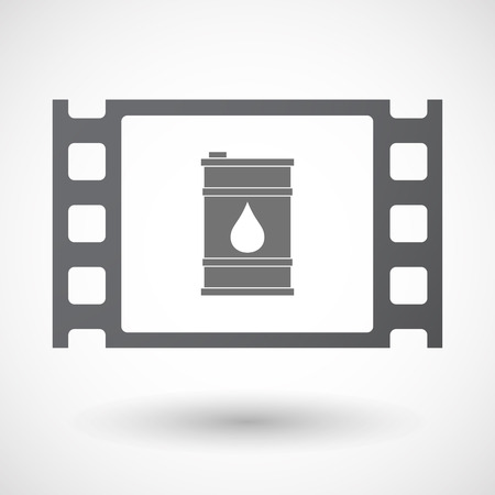 35mm: Illustration of an isolated 35mm film frame with a barrel of oil Illustration