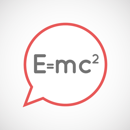 relativity: Illustration of an isolated comic balloon line art icon with the Theory of Relativity formula