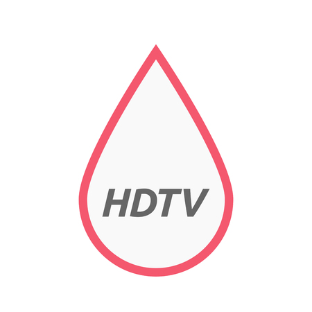 hdtv: Illustration of an isolated line art blood drop icon with    the text HDTV