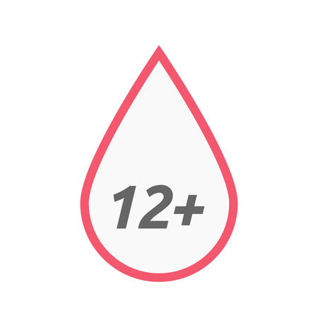 approval rate: Illustration of an isolated line art blood drop icon with    the text 12+