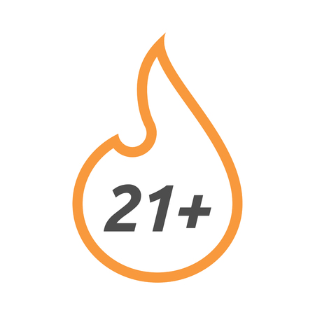 Illustration of an isolated line art flame with    the text 21+ Illustration