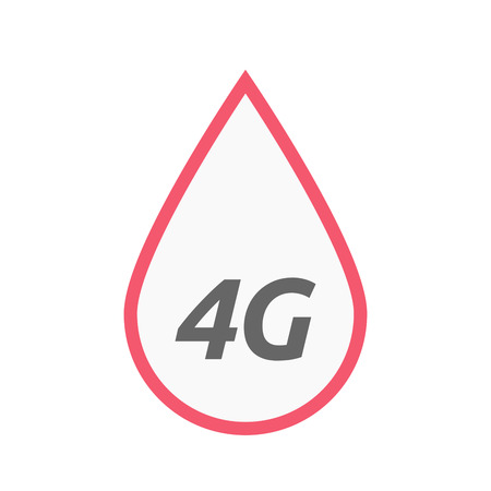 blood transfer: Illustration of an isolated line art blood drop icon with    the text 4G Illustration