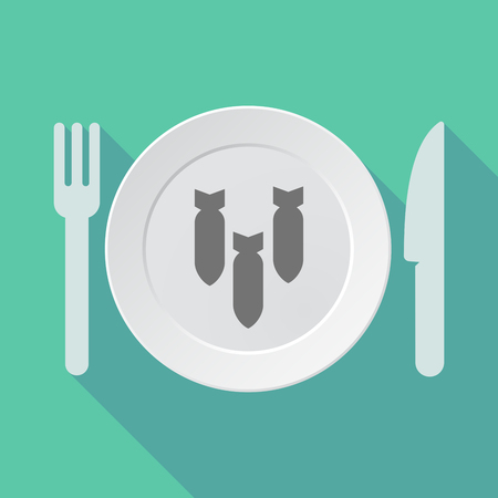 detonate: Illustration of a long shadow tableware vector illustration with three bombs falling