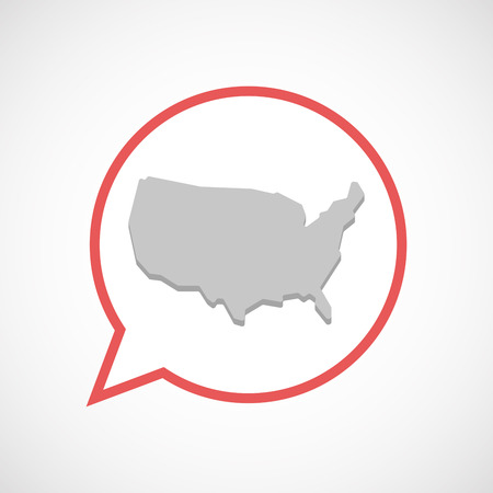 Illustration of an isolated comic balloon line art icon with  a map of the USA
