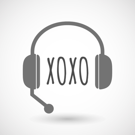 xoxo: Illustration of an isolated  headset icon with    the text XOXO