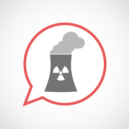 Illustration of an isolated comic balloon line art icon with a nuclear power station