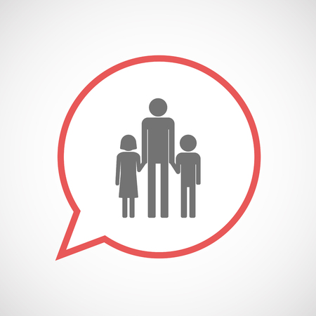 single family: Illustration of an isolated comic balloon line art icon with a male single parent family pictogram Illustration