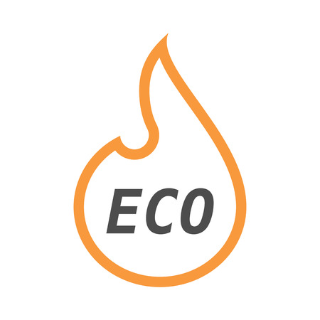 inferno: Illustration of an isolated line art flame with    the text ECO