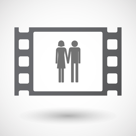 heterosexual couple: Illustration of an isolated 35mm film frame with a heterosexual couple pictogram Illustration