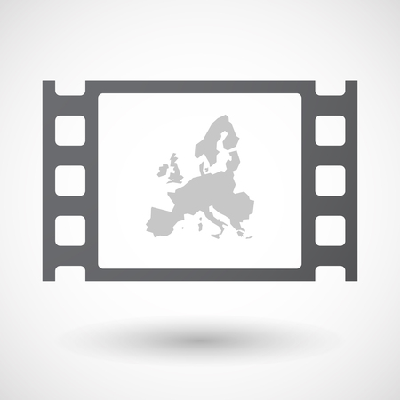 35mm: Illustration of an isolated 35mm film frame with  a map of Europe