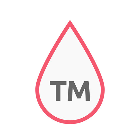 Illustration of an isolated line art blood drop icon with    the text TM
