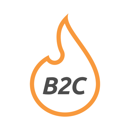 Illustration of an isolated line art flame with    the text B2C Illustration