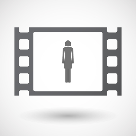 35mm: Illustration of an isolated 35mm film frame with a female pictogram Illustration