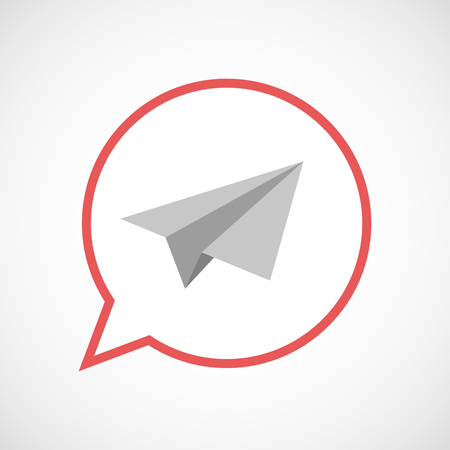 Illustration of an isolated comic balloon line art icon with a paper plane Illustration