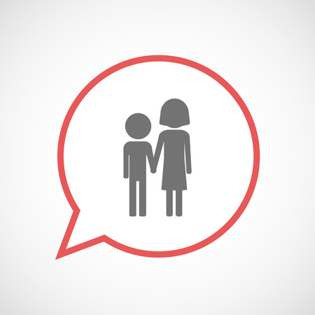 orphan: Illustration of an isolated comic balloon line art icon with a childhood pictogram