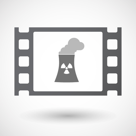 nuclear power station: Illustration of an isolated 35mm film frame with a nuclear power station