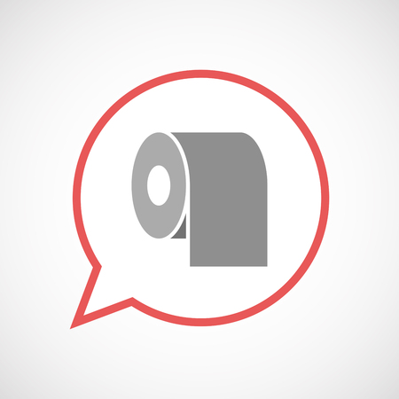 toilet paper art: Illustration of an isolated comic balloon line art icon with a toilet paper roll