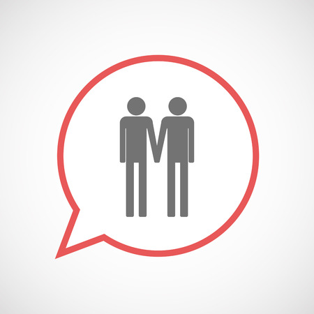 gay men: Illustration of an isolated comic balloon line art icon with a gay couple pictogram