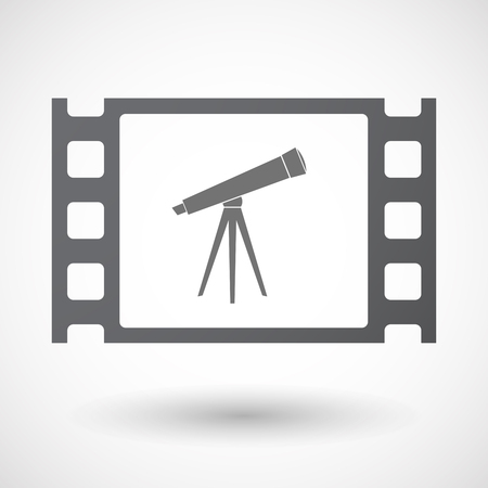 35mm: Illustration of an isolated 35mm film frame with a telescope Illustration