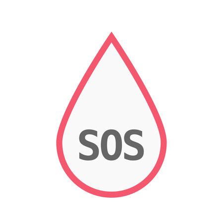 Illustration of an isolated line art blood drop icon with    the text SOS