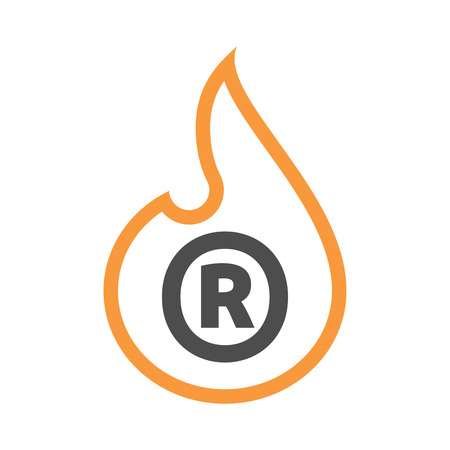 Illustration of an isolated line art flame with    the registered trademark symbol