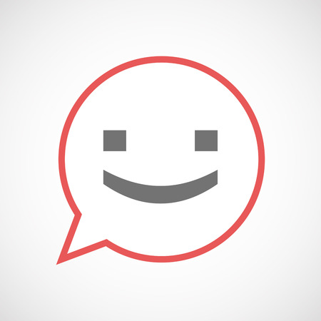 Illustration of an isolated comic balloon line art icon with a smile text face Illustration