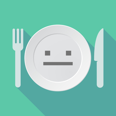 emotionless: Illustration of a long shadow tableware vector illustration with a emotionless text face Illustration