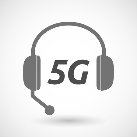 5g: Illustration of an isolated  headset icon with    the text 5G