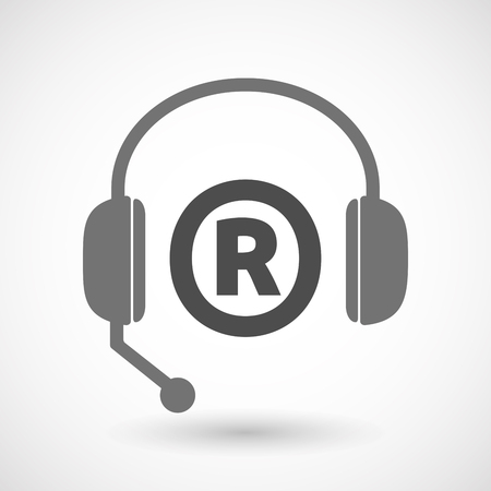 telemarketer: Illustration of an isolated  headset icon with    the registered trademark symbol Illustration