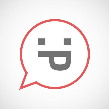 sacar la lengua: Ilustración de un cómic icono aislado Arte de la línea de globo con una cara de texto lengua fuera Vectores