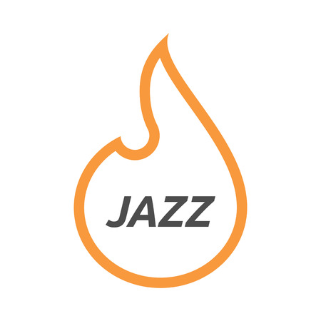 inferno: Illustration of an isolated line art flame with    the text JAZZ