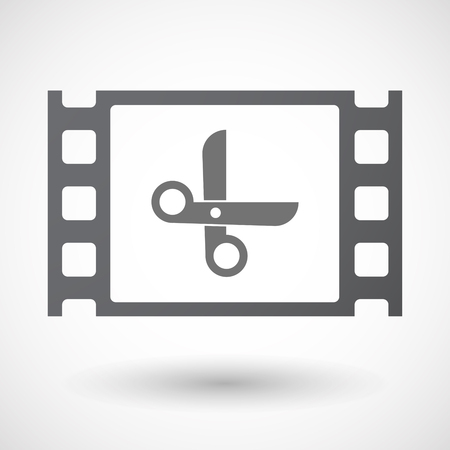 35mm: Illustration of an isolated 35mm film frame with a scissors Illustration