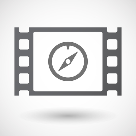 longitude: Illustration of an isolated 35mm film frame with a compass