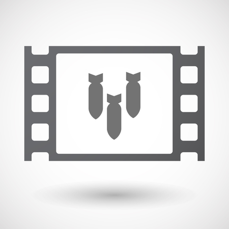 bombs: Illustration of an isolated 35mm film frame with three bombs falling