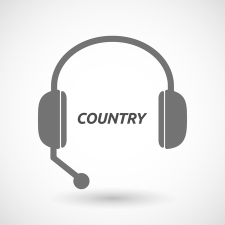 telemarketer: Illustration of an isolated  headset icon with    the text COUNTRY Illustration