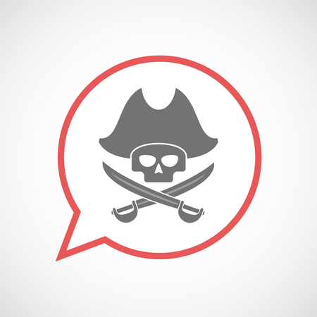Illustration of an isolated comic balloon line art icon with a pirate skull
