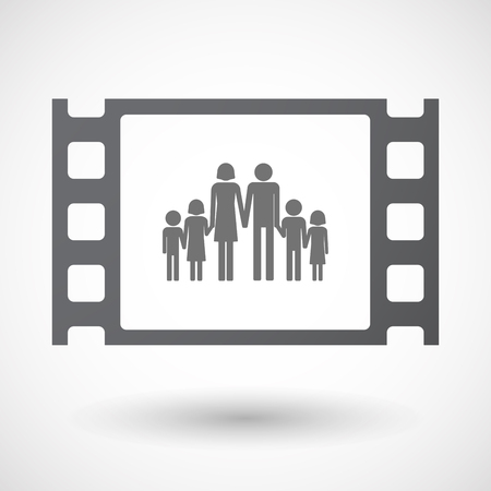large family: Illustration of an isolated 35mm film frame with a large family  pictogram Illustration