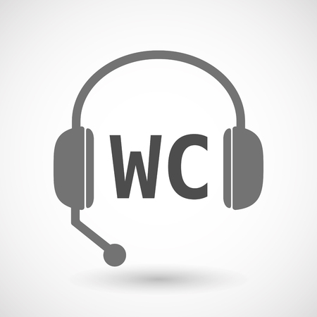 wc: Illustration of an isolated  headset icon with    the text WC
