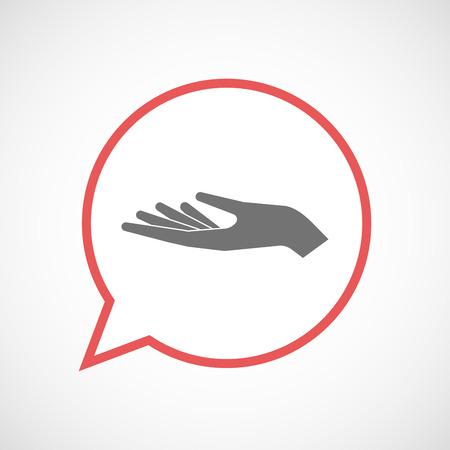 Illustration of an isolated comic balloon line art icon with a hand offering