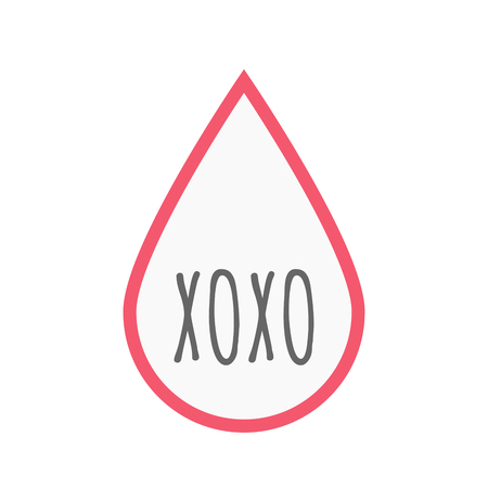 xoxo: Illustration of an isolated line art blood drop icon with    the text XOXO Illustration
