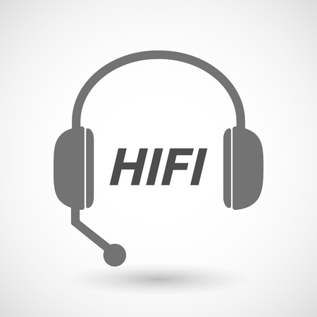 fidelity: Illustration of an isolated  headset icon with    the text HIFI Illustration