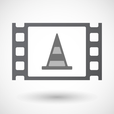 35mm: Illustration of an isolated 35mm film frame with a road cone