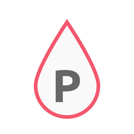 valet: Illustration of an isolated line art blood drop icon with    the letter P