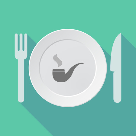 food poison: Illustration of a long shadow tableware vector illustration with a smoking pipe