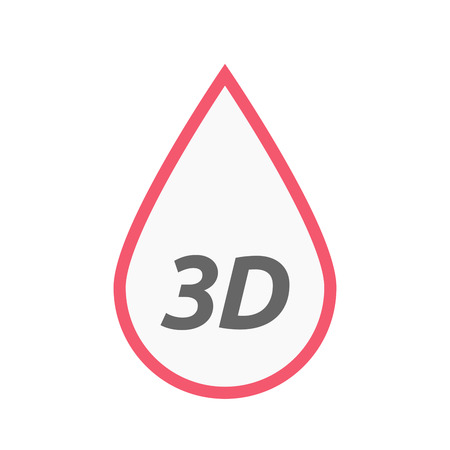 Illustration of an isolated line art blood drop icon with    the text 3D