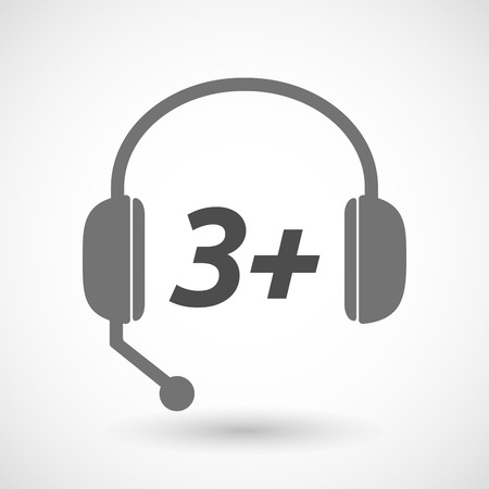 telemarketer: Illustration of an isolated  headset icon with    the text 3+