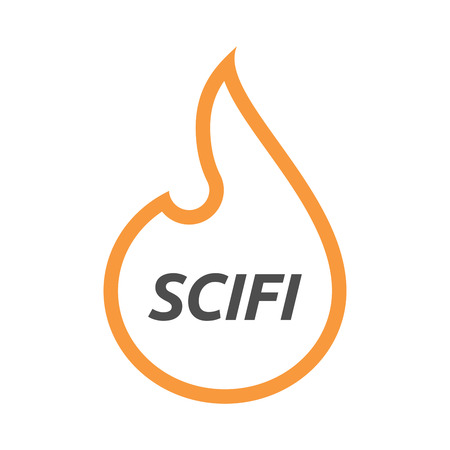 speculative: Illustration of an isolated line art flame with    the text SCIFI Illustration