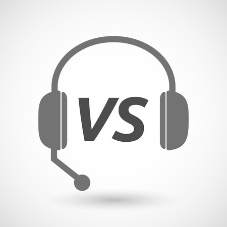 vs: Illustration of an isolated  headset icon with    the text VS