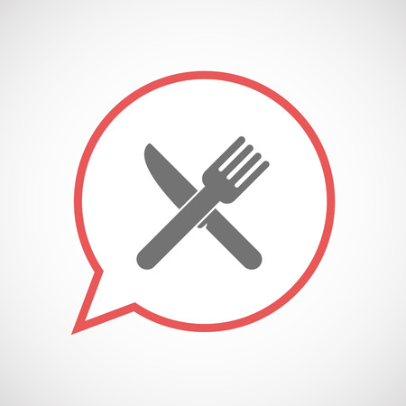Illustration of an isolated comic balloon line art icon with a knife and a fork