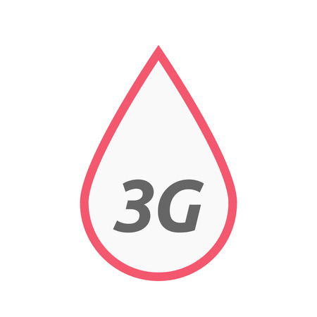Illustration of an isolated line art blood drop icon with    the text 3G